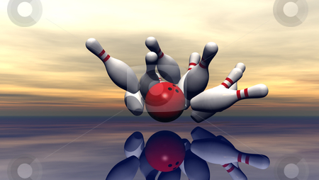 Bowling stock photo, bowling pins and ball under cloudy sky - 3d illustration by J?
