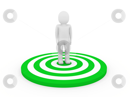 3d man target stock photo, 3d man human target center green hit  by d3images