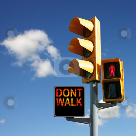 Traffic Lights stock photo, Traffic Lights with Don't Walk and Red Man by Binkski Art