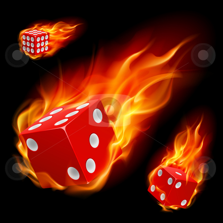 Dice in fire stock photo, Dice in fire. Illustration on black background by dvarg
