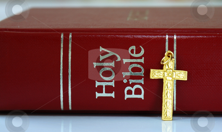 A golden cross next to the red bible stock photo, A golden cross next to the red bible by johnkwan