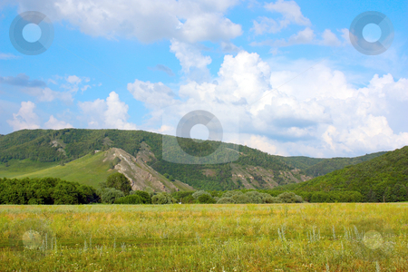 Summer landscape stock photo, Beautiful summer landscape with mountains by Sergei Devyatkin