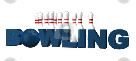 Bowling stock photo, the word bowling, pins and ball on white background - 3d illustration by J?