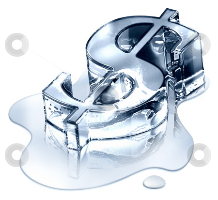 Crisis finance - the dollar symbol in melting ice - devaluated money stock photo, Crisis finance - the dollar symbol in melting ice - devaluated money - image symbolizing the bankruptcy or devaluation of money by Barrawel