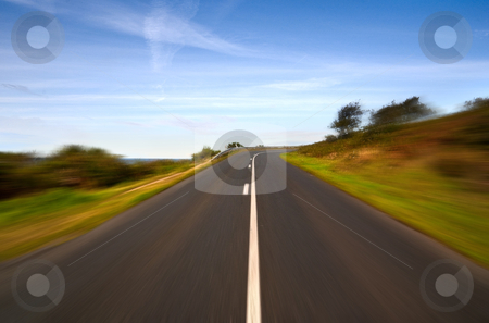 Speed on the road on the cliff - right turning stock photo, Speed on the road on the cliff - right turning by Barrawel