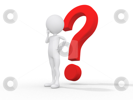 3d guy thinking in front of a big question mark - Isolated stock photo, 3d guy thinking in front of a big question mark - Isolated by dacasdo