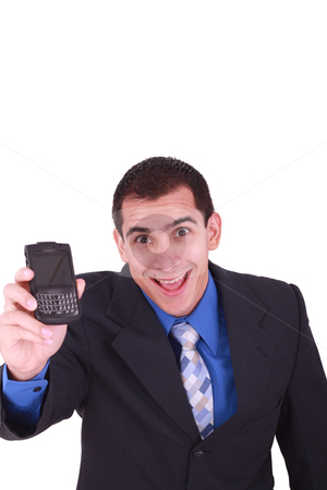 Isolated business male holding a cell phone for communication.  stock photo, isolated business male holding a cell phone for communication.  by dacasdo