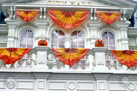 Halloween stock photo, A building decorated with pumpkins for Halloween by Lucy Clark