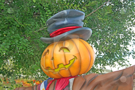 Pumpkin stock photo, A pumpkin with smiling face and hat by Lucy Clark