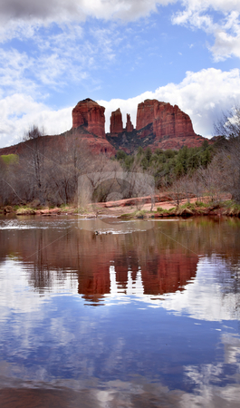 Cathedral Rock Canyon Oak Creek Reflection Sedona Arizona stock photo, Cathedral Red Rock Canyon Oak Creek Green Trees Blue Skies Sedona Arizona by William Perry