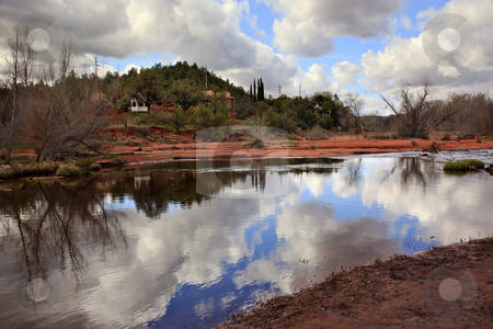 Oak Creek Downstream Reflection Sedona Arizona stock photo, Oak Creek Downstream Fair Weather Reflection  Sedona Arizona by William Perry