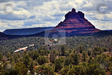 Road to Bell Rock Red Rock Canyon Sedona Arizona stock photo, Road to Bell Rock Red Rock Canyon Butte Sedona Arizona by William Perry