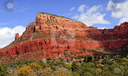 Red Rock Canyon Chapel of the Holy Cross Sedona Arizona stock photo, Red Rock Canyon Butte Little Horse Park Chapel of the Holy Cross Sedona Arizona by William Perry