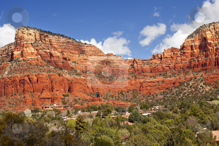 Red Rock Canyon Houses Sedona Arizona stock photo, Red Rock Canyon Butte Little Horse Park Houses Chapel of the Holy Cross Green Trees Sedona Arizona by William Perry