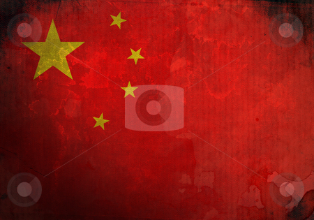 Grunge China Flag stock photo, China Flag on old and vintage grunge texture by HypnoCreative