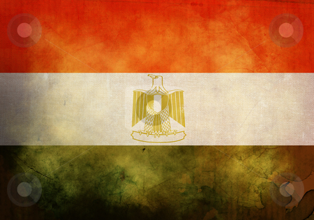 Grunge Egyptian Flag stock photo, Egyptian Flag on old and vintage grunge texture by HypnoCreative