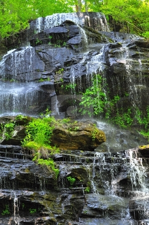 Isaqueena Falls stock photo, Different close-up of the Falls by Michaelee