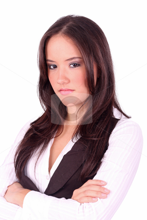 Lady with angry face on a white background stock photo, Lady with angry face on a white background by dacasdo