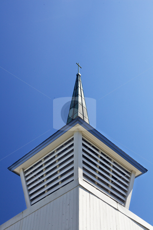 Chruch Steeple Oblique view stock photo, An oblique view of the base and tip of a blue and white church steeple against a clear sky by bobkeenan