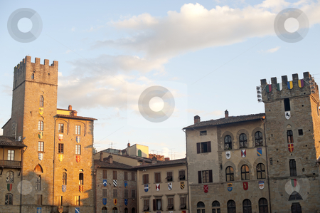 Medieval square in Arezzo (Tuscany, Italy) stock photo, Medieval square in Arezzo (Tuscany, Italy) by clodio