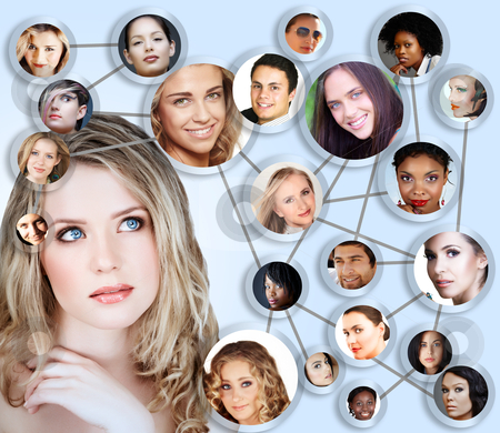 Social network media concept collage stock photo, beautiful caucasian young woman with social network collage concept of young peer friends men and women in their 20s by lubavnel