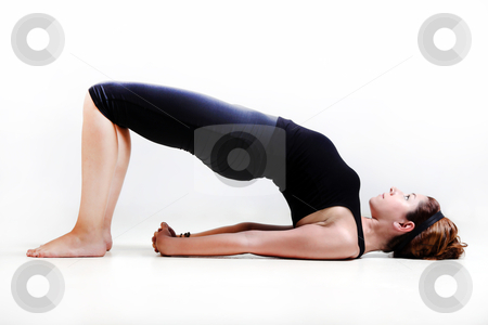 Pretty girl in yoga time stock photo, Pretty girl on white background prectice yoga by Roberto Giobbi