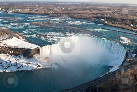 Horseshoe Falls (Niagara) From Above in Winter stock photo, The Horseshoe Falls in Niagara Falls taken from above on the Canadian side. by Brian Guest