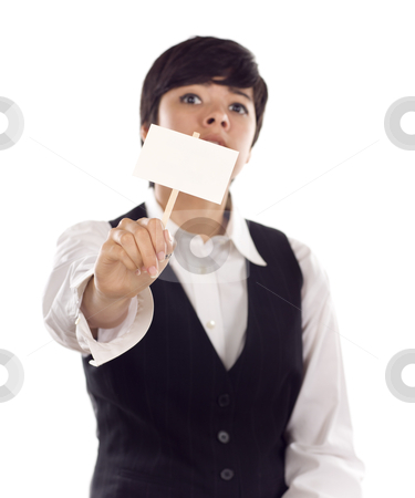 Mixed Race Young Adult Female Holding Blank White Sign stock photo, Mixed Race Young Adult Female Holding Blank White Sign in Front of Her Isolated on a White Background. by Andy Dean