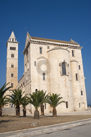 Trani (Puglia, Italy) - Medieval cathedral and palm trees stock photo, Trani (Puglia, Italy) - Medieval cathedral and palm trees by clodio