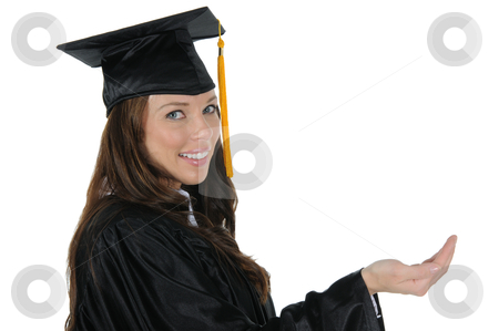 Female Graduate 07 stock photo, A attractive woman graduate wearing a black cap and gown with gold tassel, holding out a open hand. Isolated on a solid white background. by Randall Reed