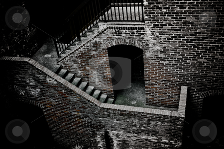 Brick stairs stock photo, an old brick house with stairs, view from above by Anatoliy Nykilchyk