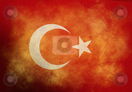 Grunge Turkish Flag stock photo, Turkish Flag on old and vintage grunge texture by HypnoCreative