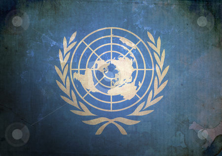 Grunge United Nations Flag stock photo, The United Nations Flag on old and vintage grunge texture by HypnoCreative