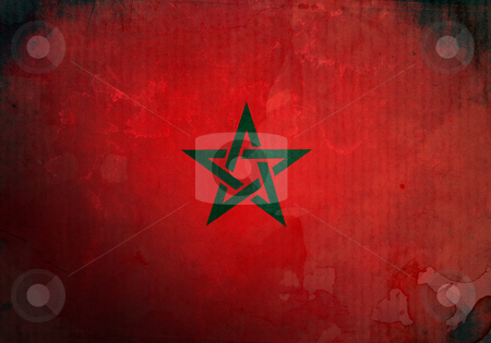 Grunge Morocco Flag stock photo, Morocco flag on old and vintage grunge texture by HypnoCreative
