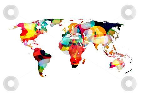 Mixed Up World stock photo, A colorful abstract illustration of the world globe map by HypnoCreative
