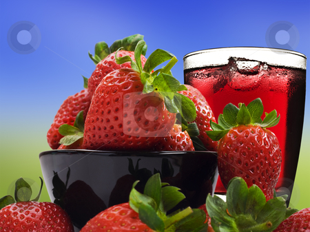 Fresh healthy strawberries and juice for a healthy diet stock photo, Fresh healthy strawberries and juice for a healthy diet by tish1