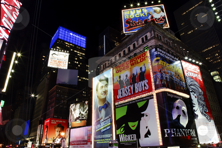 Times Square Lightshow  New York City Skyline  Night stock photo, Times Square Lightshow, Advertising, Plays, New York City Skyline Night by William Perry