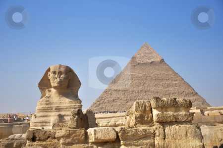 The pyramids and the Great Sphinx of Giza stock photo,  by HypnoCreative