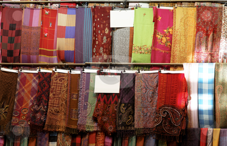Multi colored pashmina display stock photo, multi colored pashmina display at the Grand Bazaar Istanbul Turkey, landscape, copy space and crop space by Kantilal Patel
