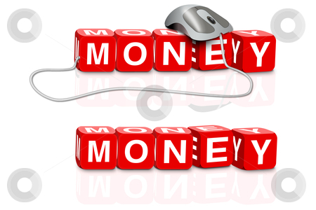 Money search stock photo, red dices spelling the word money with or without mouse by Dirk Ercken