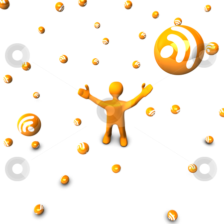 Rain of RSS stock photo, Orange cartoon in the rain of RSS, isolated on white. by Alexander Limbach