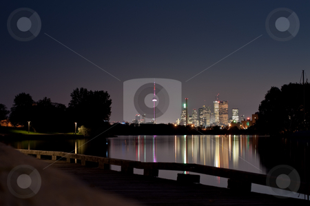 Toronto Skyline at Night from Ashbridge's Bay stock photo, A shot of the Toronto Skyline at night from Ashbridge's Bay. by Brian Guest