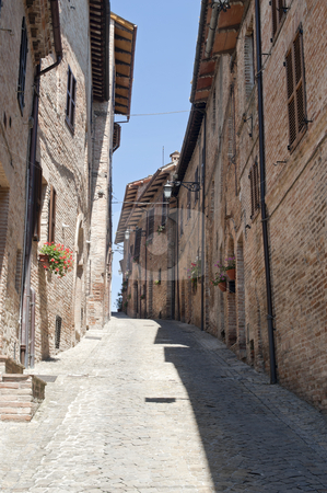 Sarnano (Macerata, Marches, Italy) - Old street stock photo, Sarnano (Macerata, Marches, Italy) - Old street by clodio