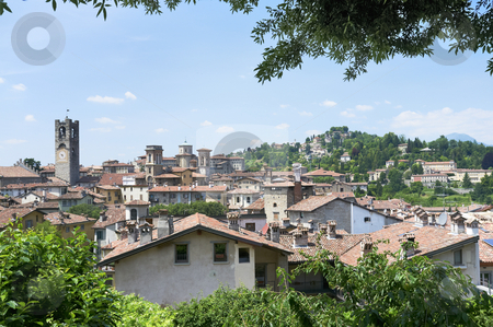 Bergamo stock photo, A View from Bergamo Citta alta (upper city) in Italy. Built in the 17th century, forms the historic centre of Bergamo.  by Stocksnapper