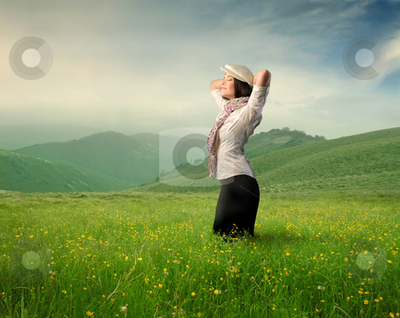 Healthy stock photo, Beautiful woman on a green meadow by olly4