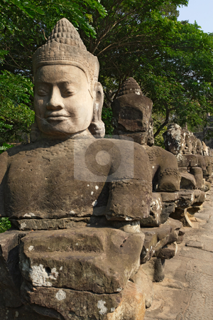 Entrance of Angkor Thom, Cambodia stock photo, Photo of the statues at the entrance to Angkor Thom in Cambodia. by © Ron Sumners