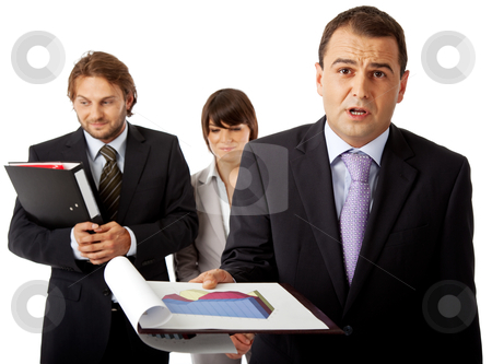 We can do much better then this stock photo, team of three, a male in front is holding graphics and is angry by vilevi