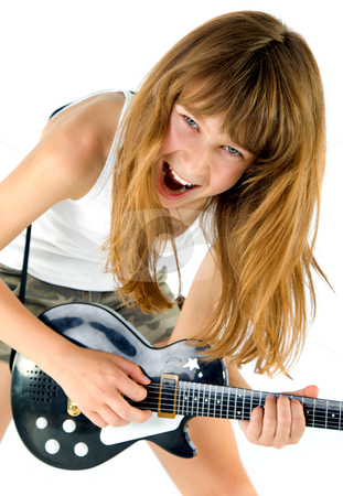 Girl playing the guitar stock photo, Little blond girl playing the guitar screaming, isolated on white by vilevi