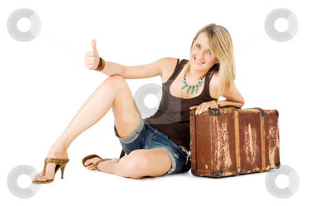 Woman suitcase hitchhiking stock photo, Happy casual woman leaning on an old suitcase  hitchhiking, isolated on white by vilevi