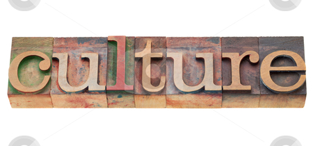 Culture word stock photo, culture - isolated word in vintage wood letterpress printing blocks by Marek Uliasz
